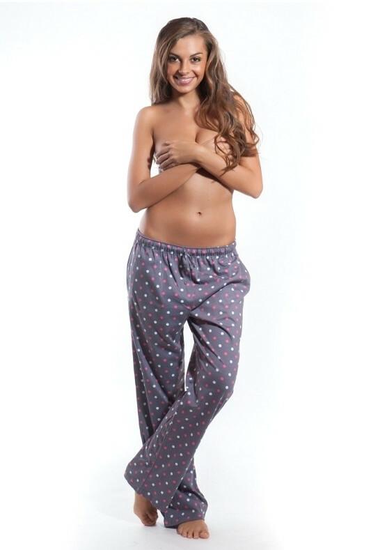 Dámské pyžamové kalhoty Cornette 690 - XL - bílá/flíčky