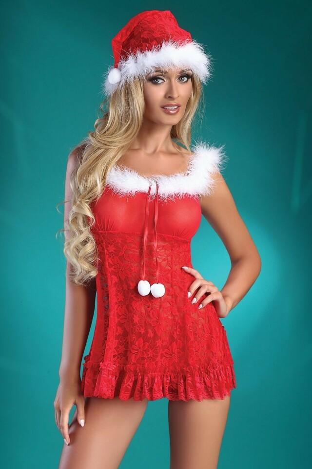 Erotický kostým Christmas Bell - L/XL - červeno-bílá
