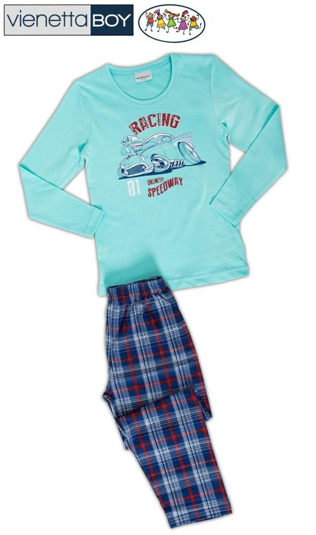 Dětské pyžamo dlouhé Auto Racing - azurová 7 - 8