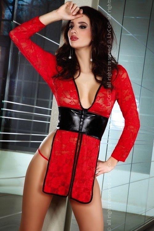 Erotická košilka Cauvery - L/XL - červeno-černá