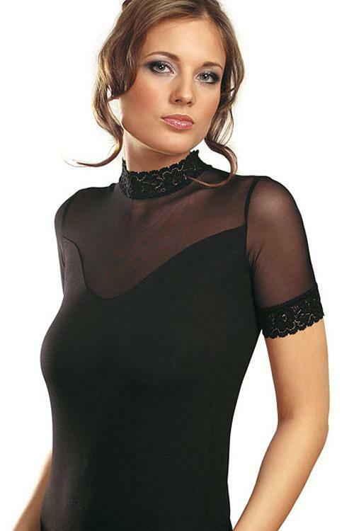 Dámská halenka Violana Bogna black - krátký rukáv - S - černá