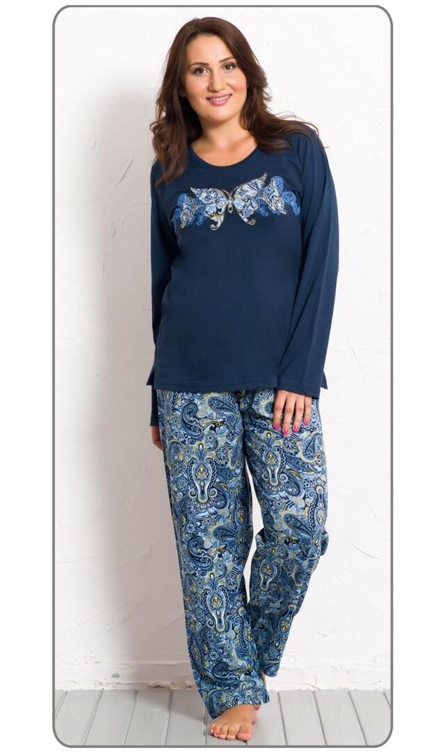 Dámské pyžamo dlouhé Fatima - tmavě modrá 1XL