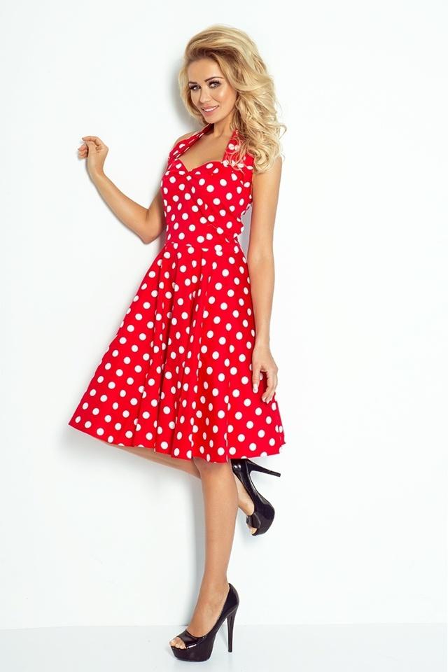 5d2aa18efabd Červené dámské šaty Rockabilly pin up s bílými puntíky a s knoflíky  30-12(1066142