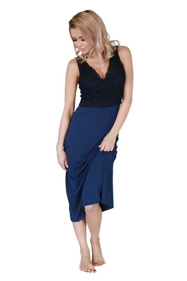 Dlouhá noční košilka Panay modrá - XL
