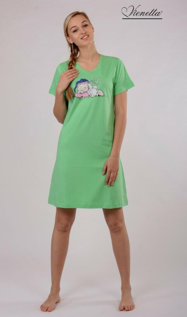 Dámská noční košile s krátkým rukávem Ovce s čepicí - zelená S
