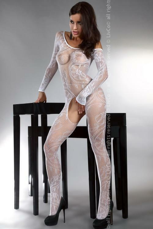 Bodystocking Abra white - S/L - bílá