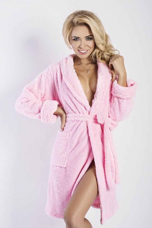 Dámský župan Eliza short pink - XXL - růžová