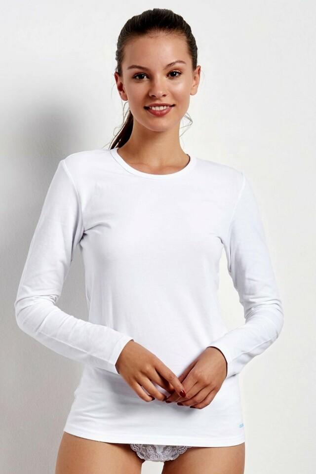Dámské triko s dlouhým rukávem 20735 white - XXL - bílá