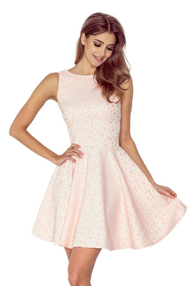 Broskvové béžové šaty kolového střihu s lodičkovým výstřihem 125-14 - L