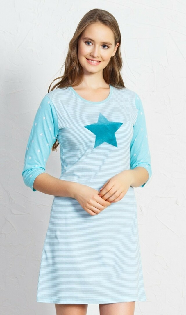Dámská noční košile s tříčtvrtečním rukávem Hvězdička - šedá L