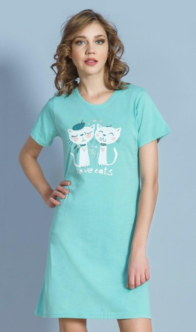 Dámská noční košile s krátkým rukávem Kočky na rande - azurová XXL