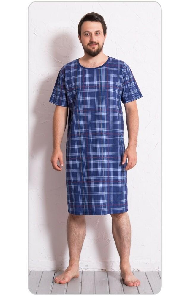 Pánská noční košile s krátkým rukávem Kostka - modrá M