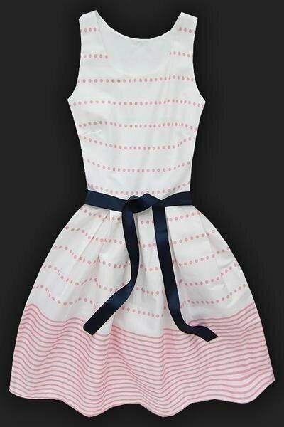 Bílo-růžové šaty s puntíky a proužky (9501) - L (40) - bílá