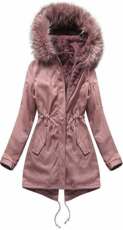 Růžová dámská zimní bunda s vsadkou (R1308) - XS (34) - růžová