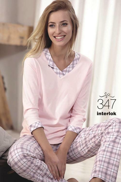 Dámské pyžamo Cana 347 - XL - světle růžová