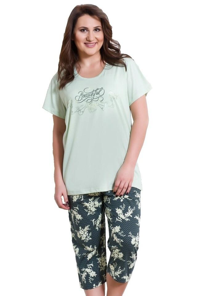 Dámské pyžamo pro plnoštíhlé Karin zelené - XXL