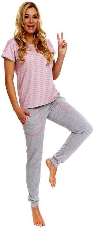 Dámské pyžamo Miranda - Italian Fashion - L - šedá s růžovou