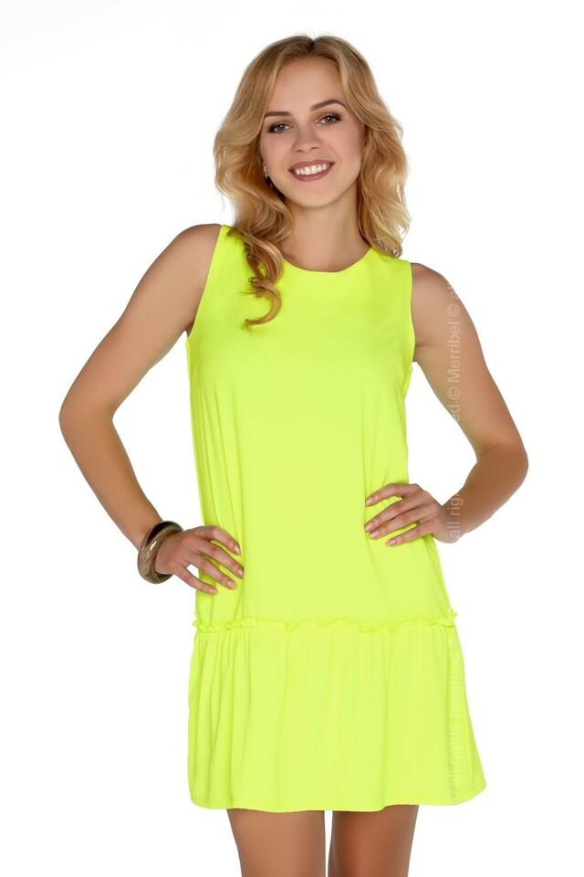 Dámské šaty model P30236 neon žlutá - Merribel