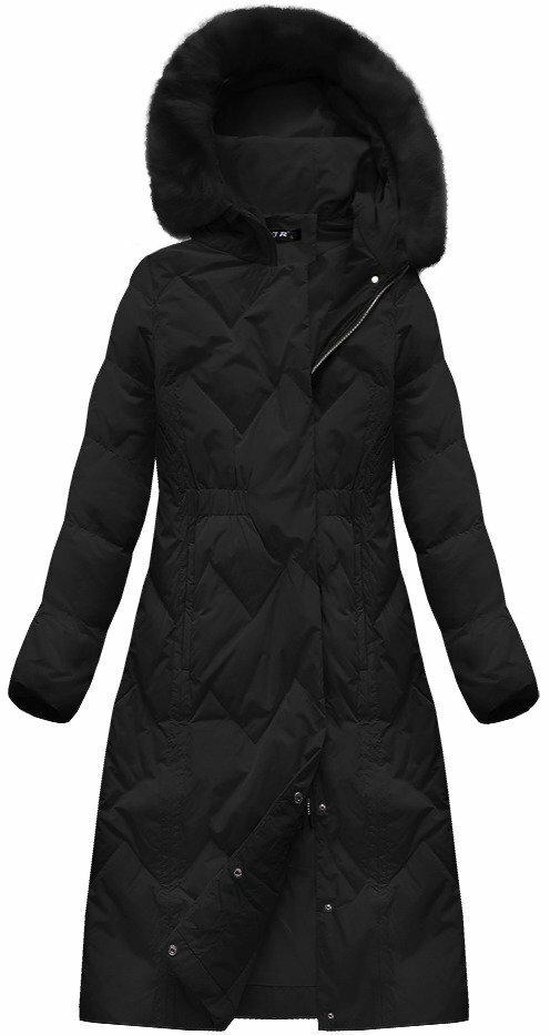 Černý dámský kabát s přírodní vycpávkou (7119) - XXL (44) - černá 36a0203ba9