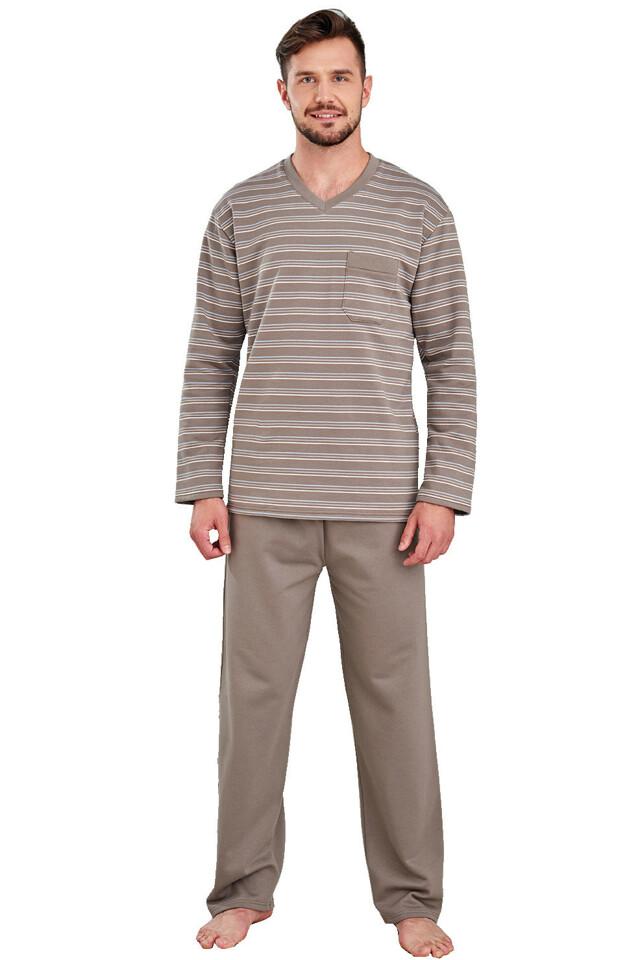 Hřejivé bavlněné pánské pyžamo Pavel hnědé - L