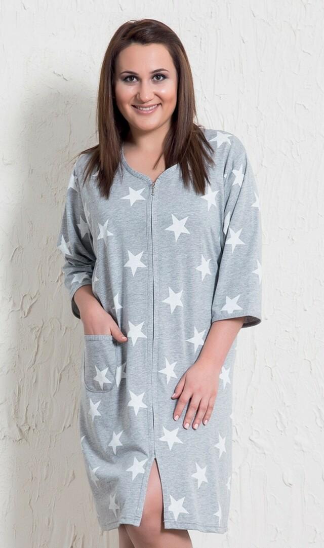 Dámské domácí šaty s tříčtvrtečním rukávem Hvězdy - šedá 1XL