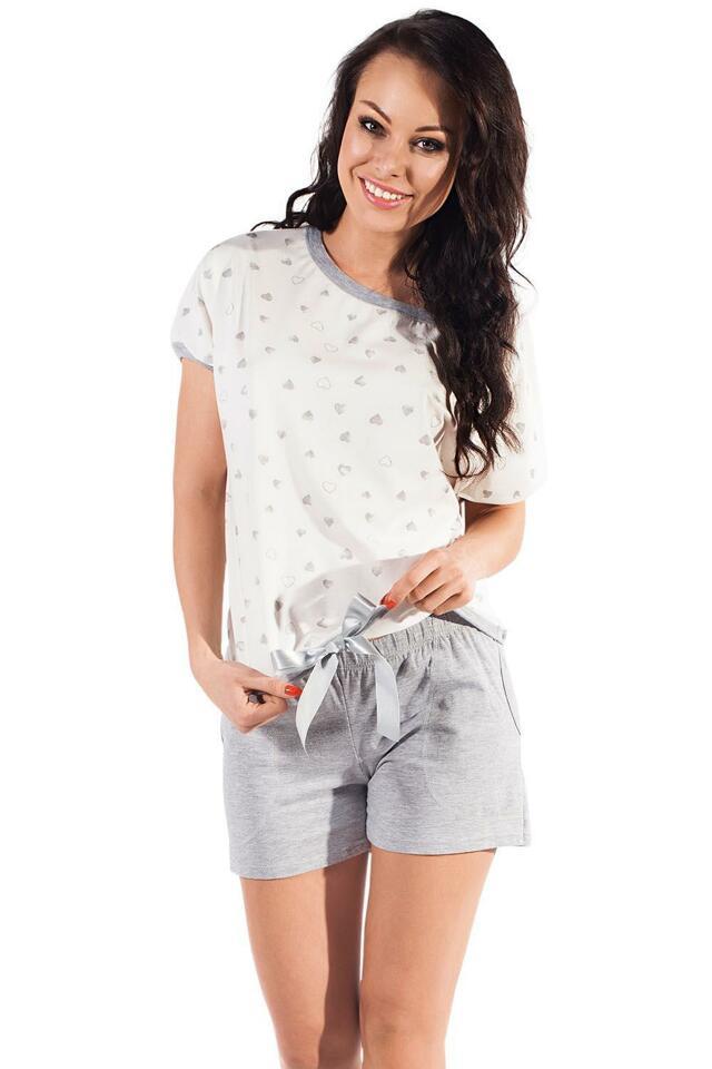 Pyžamo Italian Fashion Celia kr.r. kr.sp. - XL - pistáciová-žíhaná
