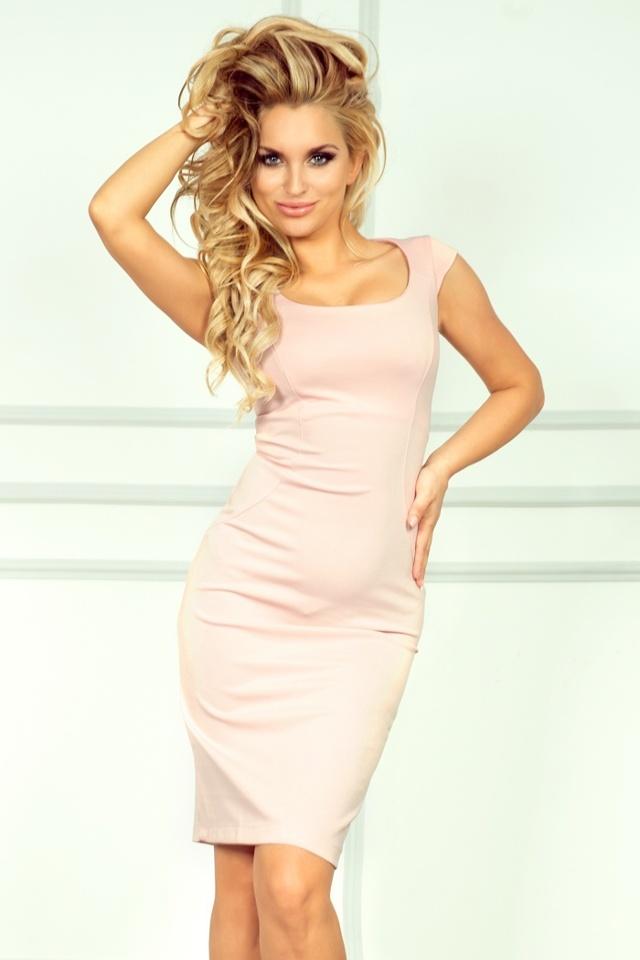 Pastelově růžové vypasované šaty 53-6A