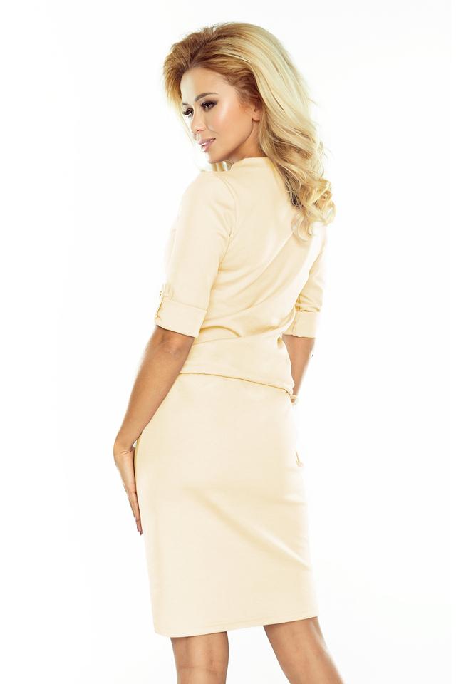 6bf4cc426cf2 Dámské šaty v krémové barvě s límečkem 161-13 AGATA(1058714) - 4