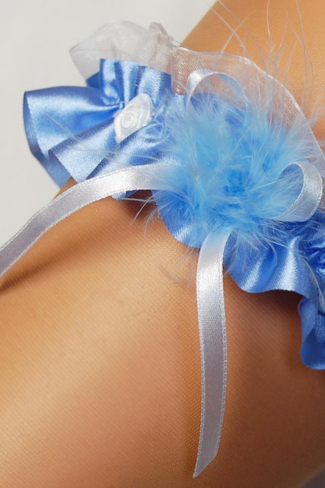 Podvazek Enjoy Marabut modrý - uni
