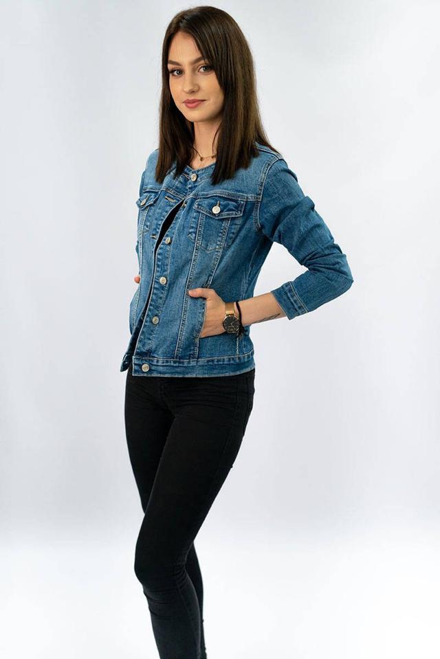 Krátká světle modrá džínová dámská bunda (M1202) - S (36)