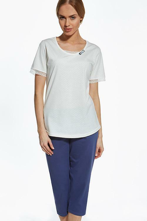 Dámské pyžamo Cana 309 XXL - XXL - krémová-granátová (modrá)