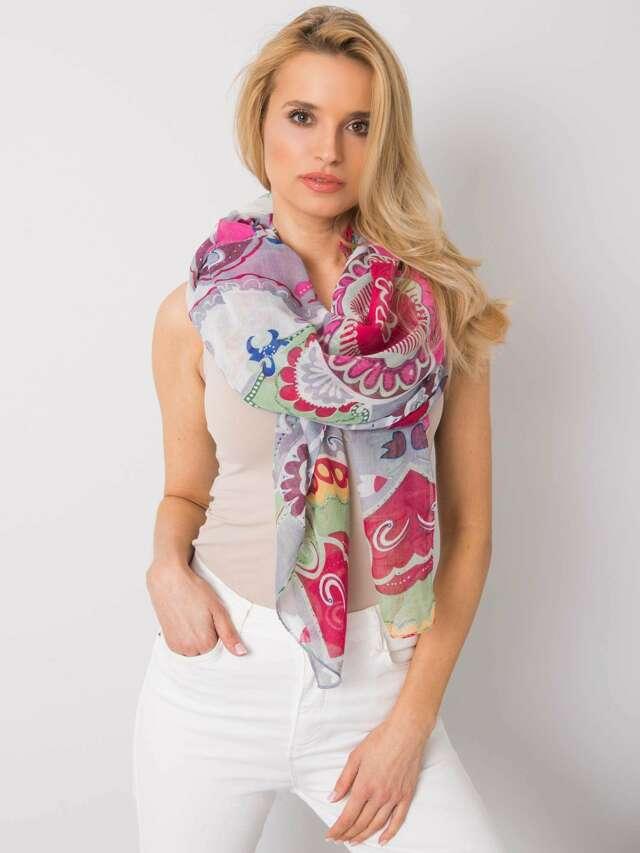Dámský šedý a fuchsiový šátek s barevnými potisky - jedna velikost