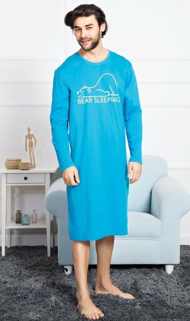 Pánská noční košile s dlouhým rukávem Bear - tyrkysová M