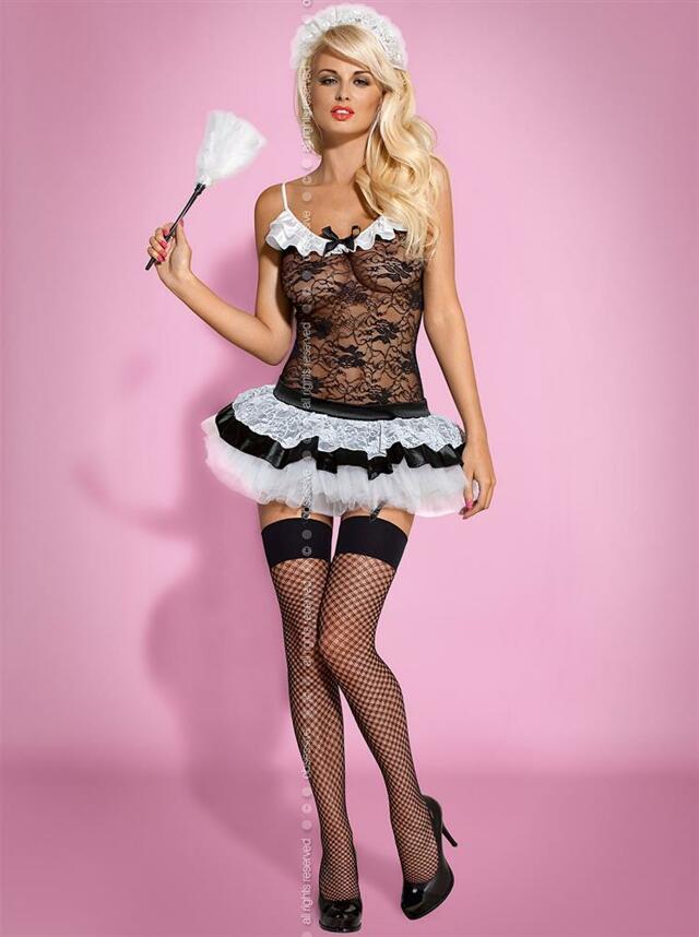 Sexy kostým Housemaid - Obsessive - L/XL - černá