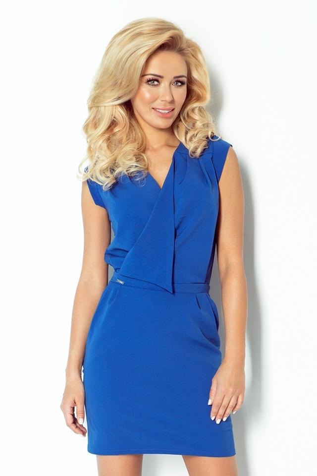 Modrofialové šaty s překládaným výstřihem 94-3