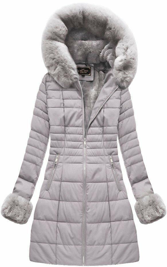 Šedá dámská zimní bunda z ekokůže (5521) - S (36) - šedá