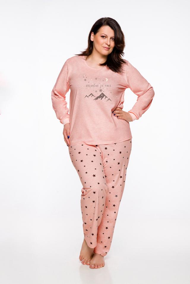 Dámské pyžamo Taro Ela 714 dł/r 2XL-3XL '20 - XXL - růžová žíhaná