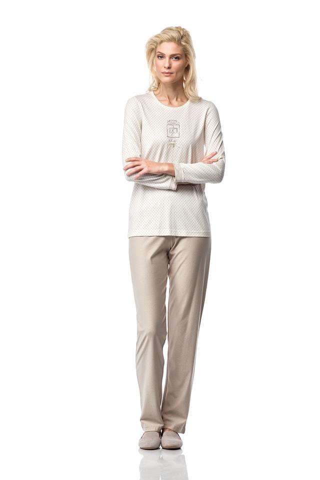 Dámské pyžamo 00-10-7185 - Vamp - S - krémová