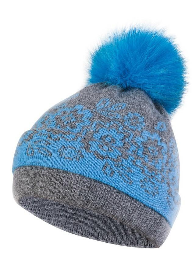 Dámská čepice s bambulí KA-LES modrá - uni - modrá