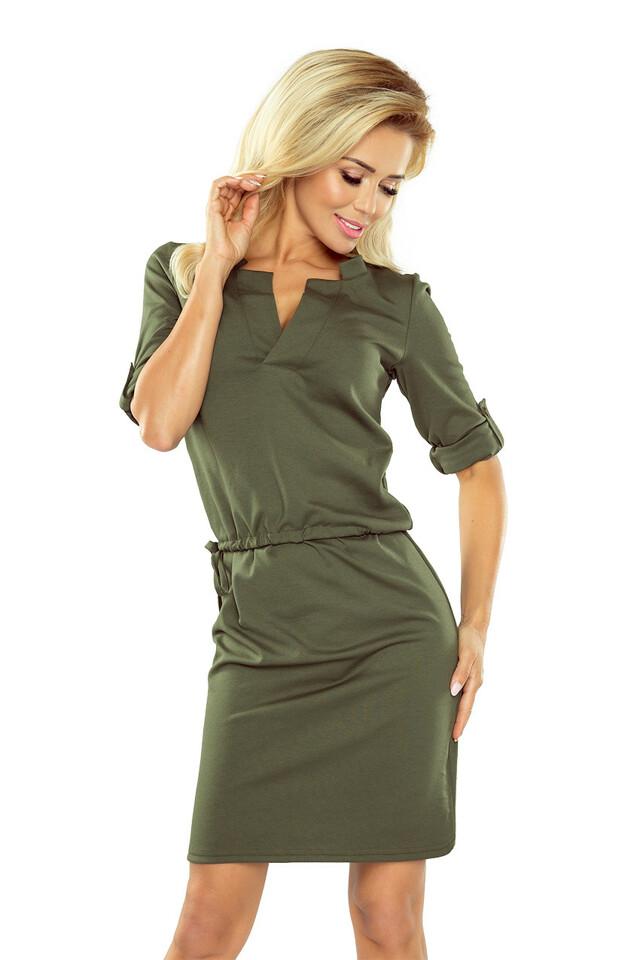 Khaki dámské šaty Agata s límečkem - S