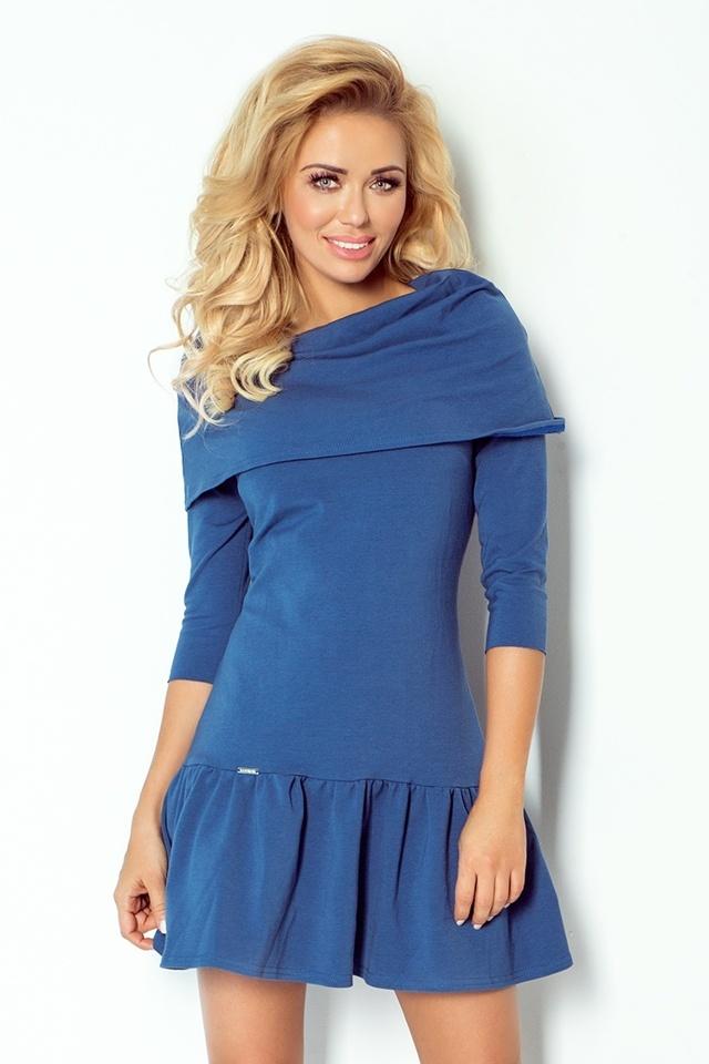 Džínově modré šaty s volánky a rolákem 108-2 - M