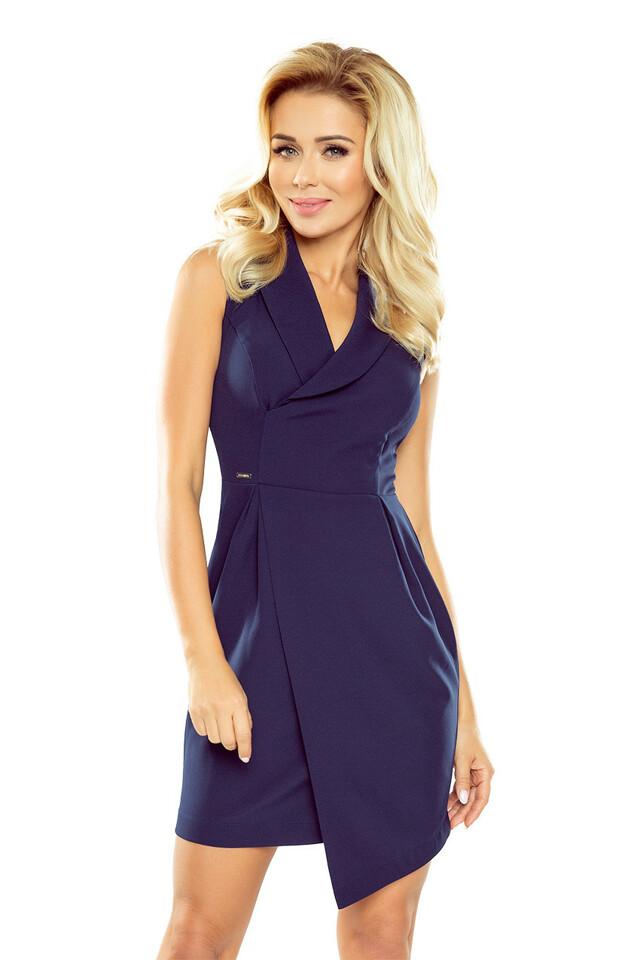 Tmavě modré šaty se širokým límcem - S