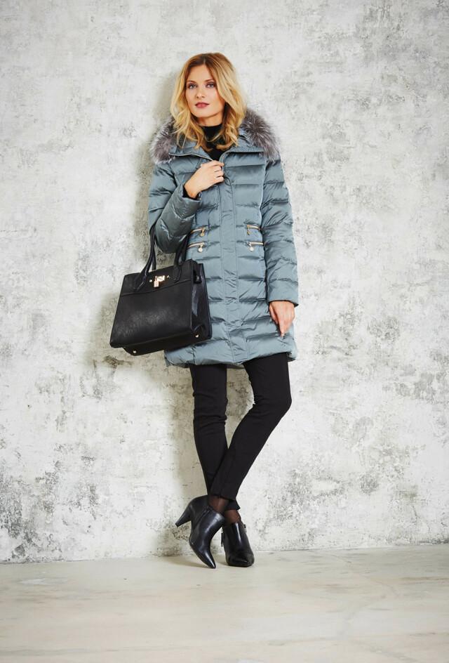 Dámský péřový kabát 2850-63 Junge - 50 - šedá