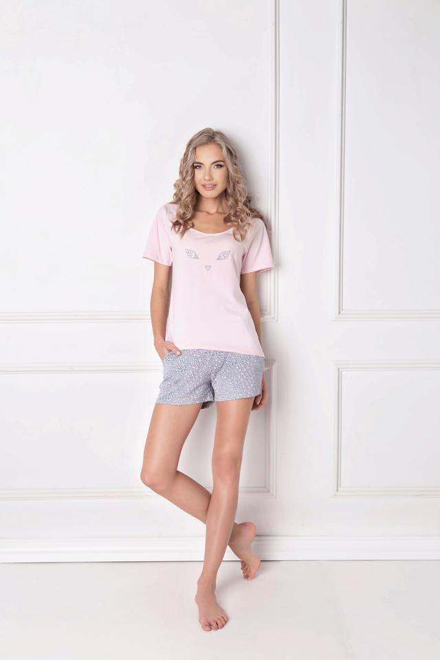 Dámské pyžamo Aruelle Wild Look Short kr/r S-XL - XL - růžová