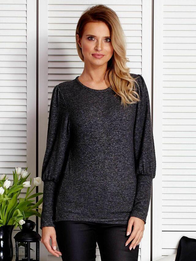 Dámský svetr se širokými lemy, tmavě šedý - S