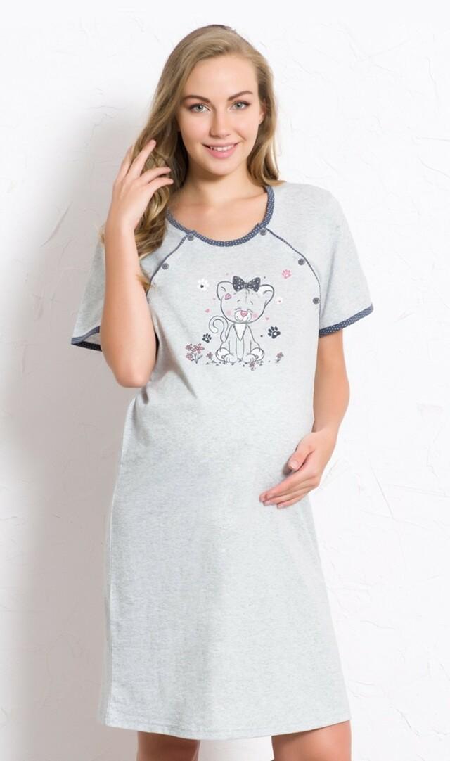Dámská noční košile mateřská Kotě - šedá/lososová XL