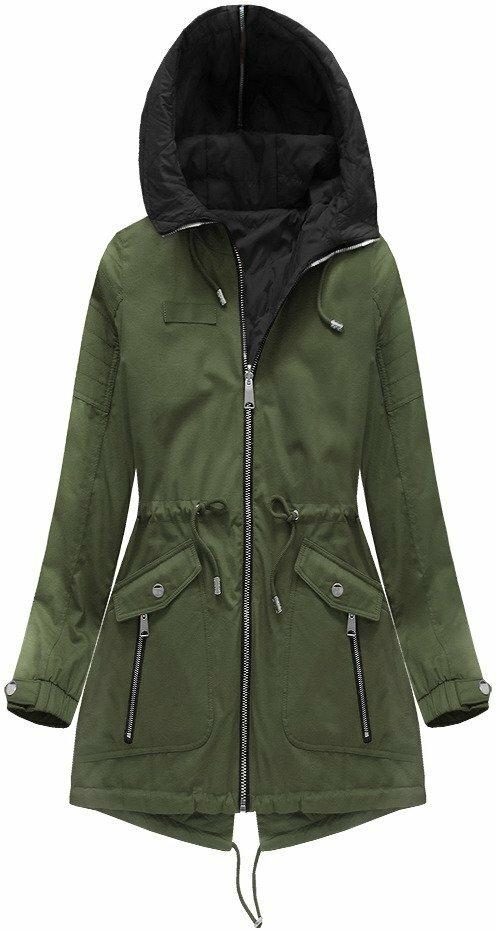 a1c347a2d4de Oboustranna bunda v khaki barve s kapuci 2 w636big khaki 54 levně ...