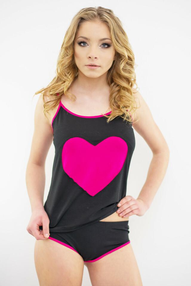 Dámské pyžamo Afrodita růžové srdce - L