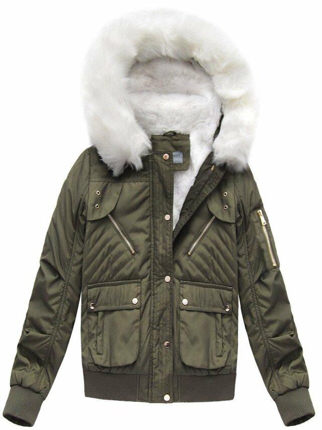 Khaki dámská zimní bunda s kapucí (B3706-30)