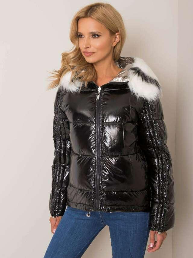 Černá, oboustranná zimní bunda s kožešinou - S